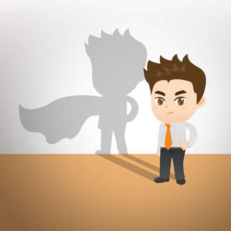 superman: cartoon illustration set of Businessman with superman shadow on the wall