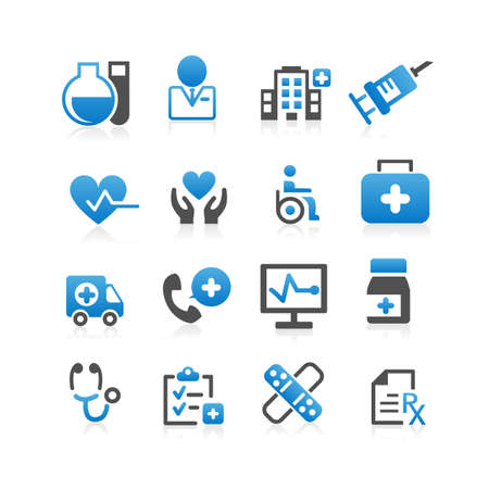person at computer: Health Care icon set - Flat Series Illustration