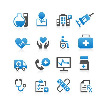personne malade: Soins de sant� icon set - plat s�rie Illustration