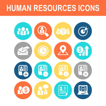 add icon: Business Human Resource icon set - Flat Series Illustration