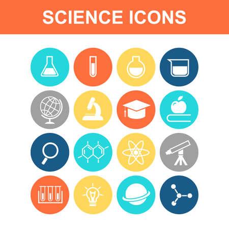 química: Ciencia conjunto de iconos - Serie Flat
