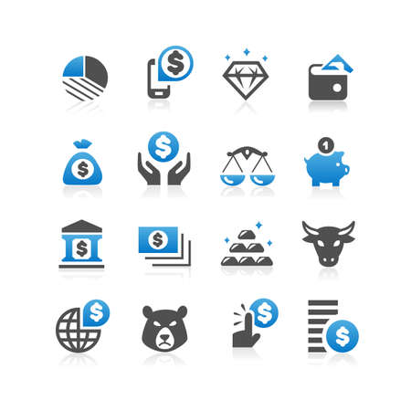 finance concept: Business finance concept icon set - Flat Series
