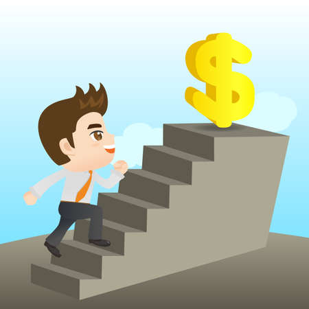 fullbody: cartoon illustration set of Business man reaching financial goal Illustration