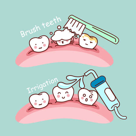 dental treatment: cute cartoon tooth brush and clean, great for health dental care concept
