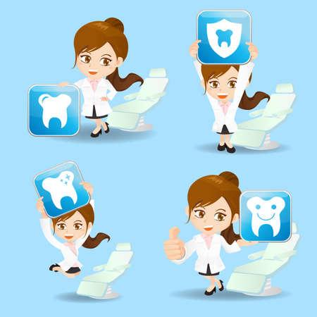 dientes caricatura: Conjunto de la historieta del dentista doctor demostraci�n de la mujer icono de atenci�n dental en diferentes poses.