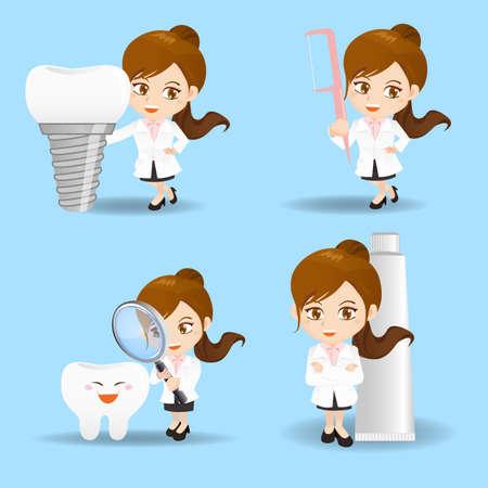 enfermero caricatura: Conjunto de la historieta de la mujer m�dico dentista en diferentes poses.