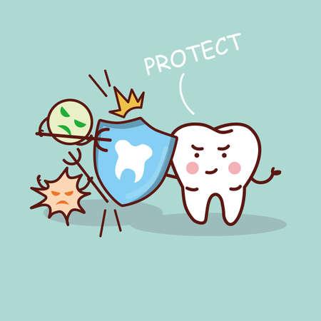 personas enfermas: diente de la historieta de la salud con el escudo, gran concepto de cuidado dental de la salud Vectores