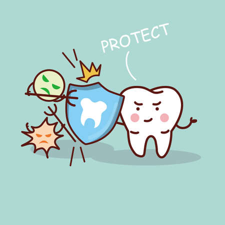 sick people: health cartoon tooth with shield, great for health dental care concept Illustration