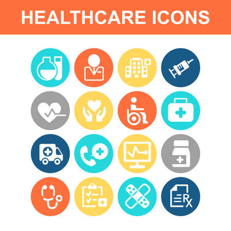 care: Health Care icon set - Flat Series Illustration