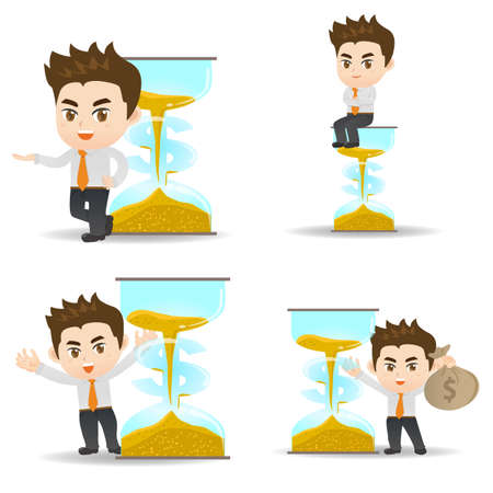 big timer: Time is money - cartoon illustration set of Business man with money and sandglass
