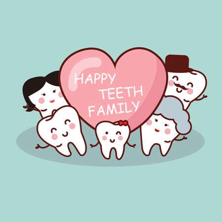 diente caricatura: Familia diente feliz de la historieta, ideal para concepto de atención dental de la salud