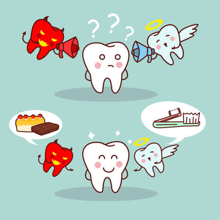 dientes caricatura: dientes de dibujos animados piensan con �ngel y el diablo, ideal para concepto de atenci�n dental de la salud Vectores