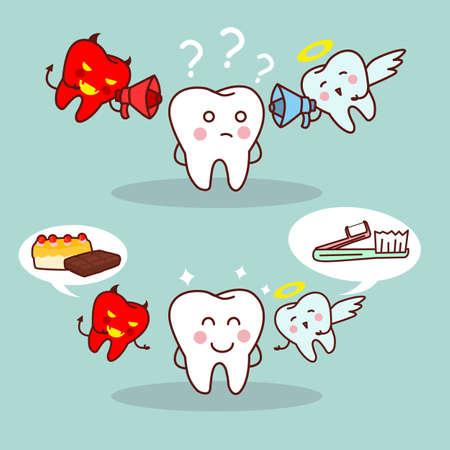 teufel engel: Karikatur Z�hne denken mit Engel und Teufel, gro� f�r Gesundheit Zahnpflege-Konzept
