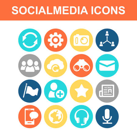 earpieces: Social media icon set - Flat Series