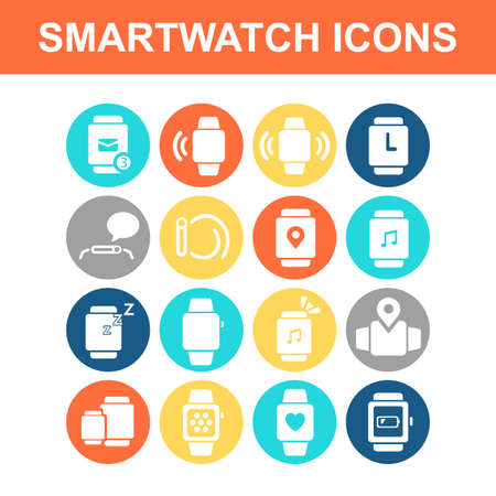 media gadget: smart watch icon set - Flat Series