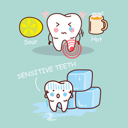 shudder: cartoon sensititive tooth, great for health dental care concept Illustration