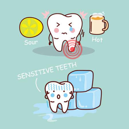 limon caricatura: dibujos animados diente sensititive, ideal para concepto de atenci�n de salud dental