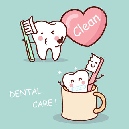 tooth paste: cute cartoon tooth brush and clean, great for health dental care concept