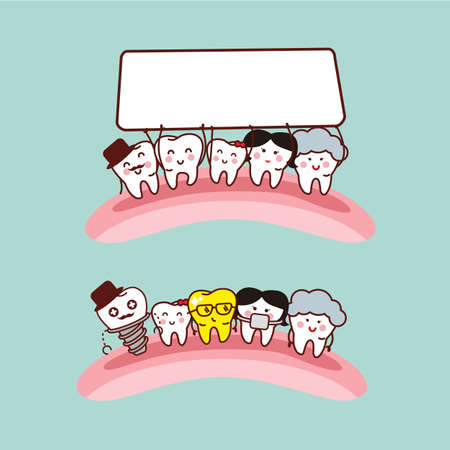 tooth crown: Happy cartoon tooth family with empty billboard, great for health dental care concept