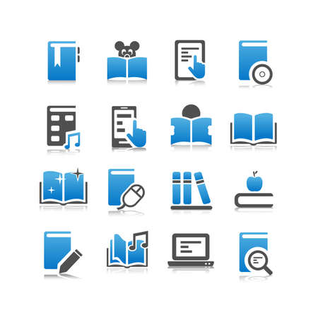 digital book: Digital Book icon set - Flat Series Illustration