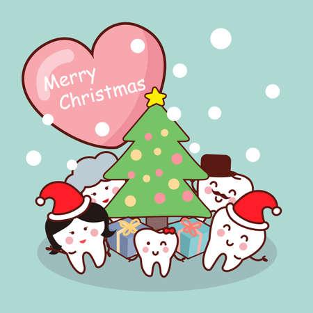 dientes caricatura: Feliz Navidad a la familia del diente, ideal para concepto de cuidado de la salud dental Vectores