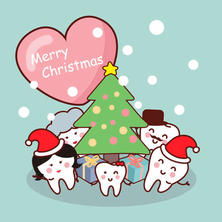 dentist cartoon: Merry christmas to tooth family , great for health dental care concept