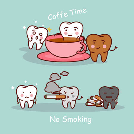 muela caricatura: dibujos animados diente negro o amarillo con caf� y el humo, ideal para el cuidado dental y blanqueamiento de dientes y el concepto de blanqueo Vectores
