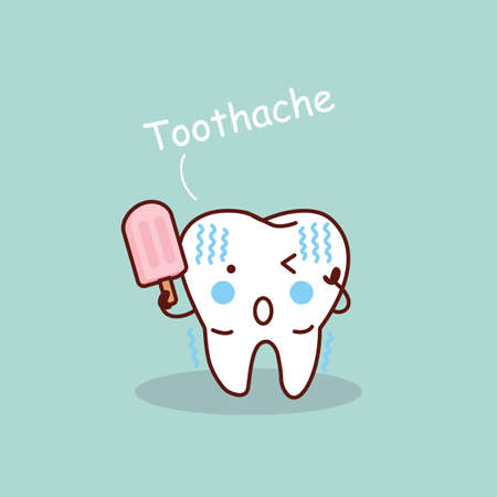tooth pain: cartoon sensititive tooth, great for health dental care concept Illustration