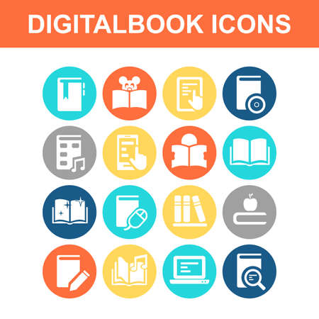people laptop: Digital Book icon set - Flat Series Illustration