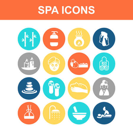simple purity flowers: Beauty SPA icon set - Flat Series