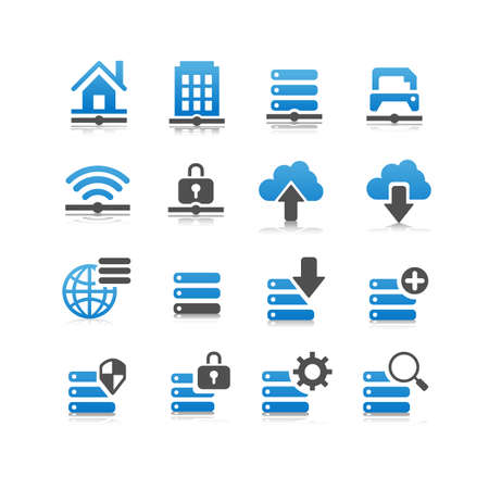 network server: Network technology icon set - Flat Series Illustration