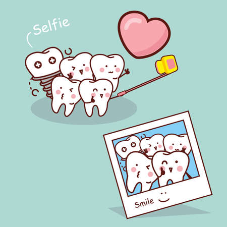 people smiling: Happy cartoon tooth take selfie, great for health dental care concept
