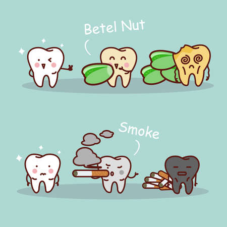 muela caricatura: dibujos animados diente negro o amarillo con nuez de betel y el humo, ideal para el cuidado dental y blanqueamiento de dientes y el concepto de blanqueo Vectores