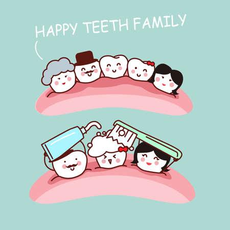 muela caricatura: Familia feliz diente de la historieta y se cepillan los dientes, ideal para el concepto de cuidado de la salud dental Vectores