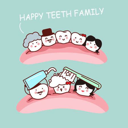 tooth paste: Happy cartoon tooth family and they brush teeth, great for health dental care concept