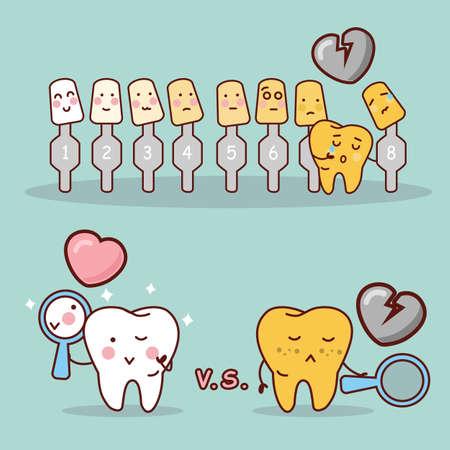 dientes: diente de la historieta con el blanqueamiento y la herramienta de blanqueo, ideal para el cuidado dental y blanqueamiento de dientes y el concepto de blanqueo Vectores