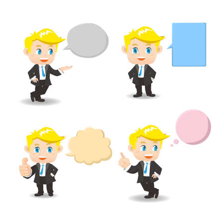 smiling man: cartoon illustration set of Business man with empty speech bubbles