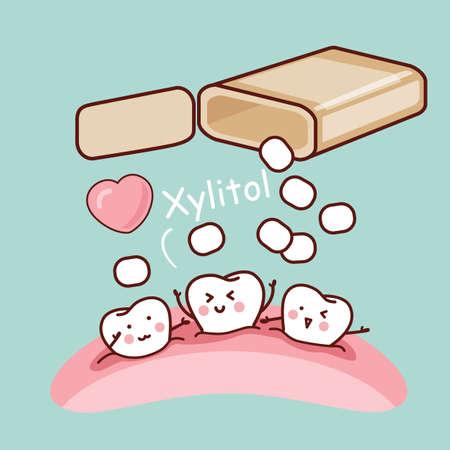 goma de mascar: diente de la historieta linda con la goma de mascar y xilitol blanco, ideal para el concepto de cuidado de la salud dental
