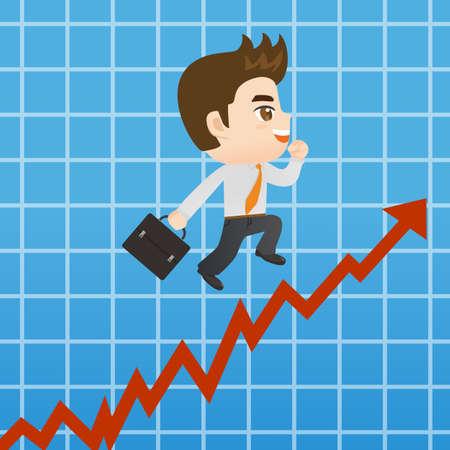 sales growth: growth concept - cartoon Businessman promots sales growth