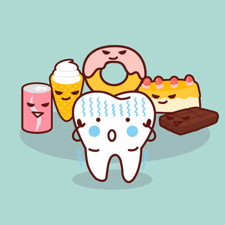 sweet tooth: cute cartoon tooth cavity, great for health dental care concept