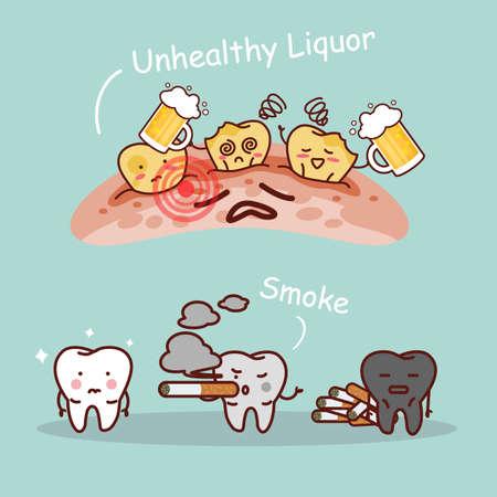 diente caricatura: dibujos animados diente negro o amarillo con la cerveza y el humo, ideal para el cuidado dental y blanqueamiento de dientes y el concepto de blanqueo Vectores