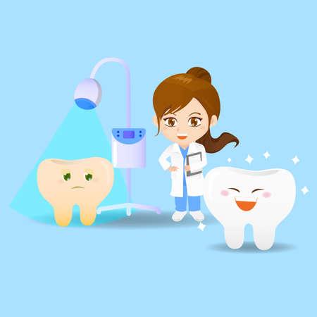 caricatura: Conjunto de la historieta de la mujer médico dentista con los dientes y la herramienta para blanquear