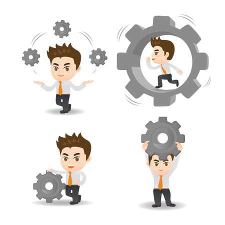 ingeniero caricatura: ilustraci�n de dibujos animados conjunto de engranajes del hombre de negocios espera
