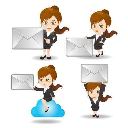 caricatura: ilustración de dibujos animados conjunto de la mujer de negocios con el correo electrónico y la nube