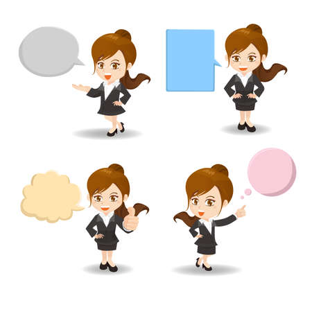 business asia: cartoon illustration set of Business woman with empty speech bubbles