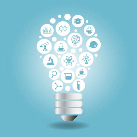university sign: Science Concept - Science icon with light bulb with blue background