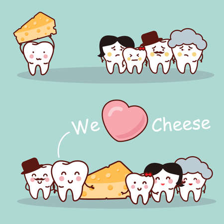 cheez: Cheese is healthy for tooth - health cartoon tooth family, great for health dental care concept