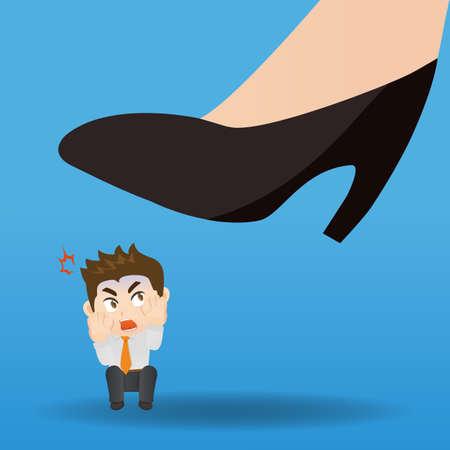 feel: cartoon illustration of business man feel stressed