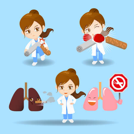 quit smoking: cartoon set of doctor surgeon woman with cigarette