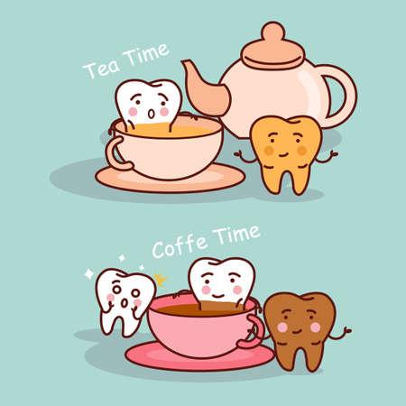 diente caricatura: La historieta del diente negro o amarillo con café y té, ideal para el cuidado dental y blanqueamiento de dientes y el concepto de blanqueo Vectores
